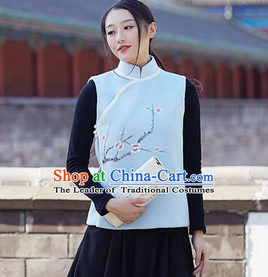 Traditional Chinese National Costume Hanfu Printing Plum Blossom Cheongsam Vests, China Tang Suit Waistcoat for Women