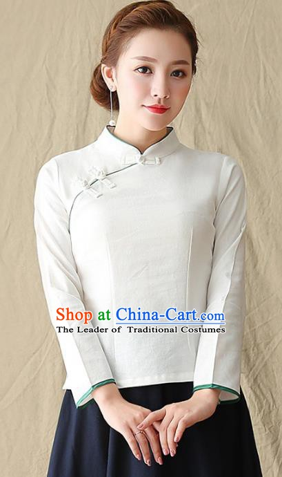 Traditional Chinese National Costume Hanfu Plated Buttons Shirts, China Tang Suit Cheongsam Upper Outer Garment White Blouse for Women