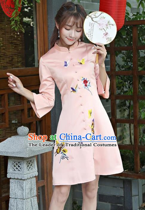 Traditional Chinese National Costume Hanfu Embroidered Butterfly Pink Qipao Dress, China Tang Suit Cheongsam for Women