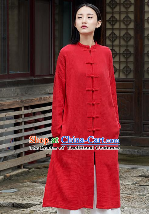 Traditional Chinese National Costume Hanfu Plated Buttons Red Dust Coat, China Tang Suit Cheongsam Outer Garment Coat for Women
