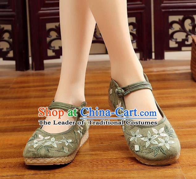 Traditional Chinese National Hanfu Embroidery Cherry Blossom Green Shoes, China Princess Embroidered Shoes for Women