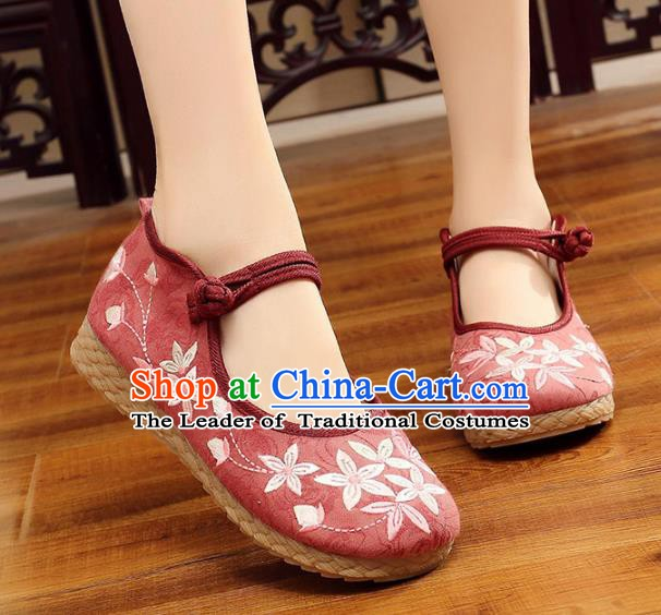 Traditional Chinese National Hanfu Embroidery Cherry Blossom Red Shoes, China Princess Embroidered Shoes for Women