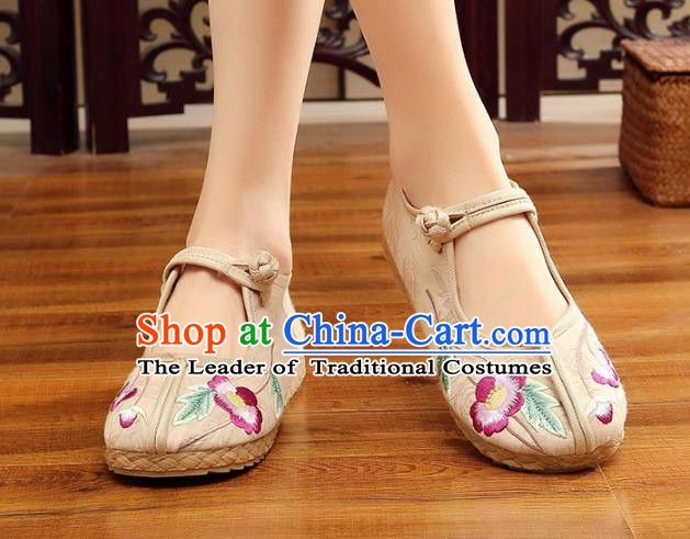 Traditional Chinese National Hanfu Embroidery Flowers White Shoes, China Princess Embroidered Shoes for Women