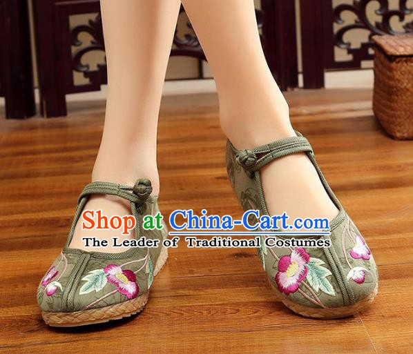 Traditional Chinese National Hanfu Embroidery Flowers Green Shoes, China Princess Embroidered Shoes for Women