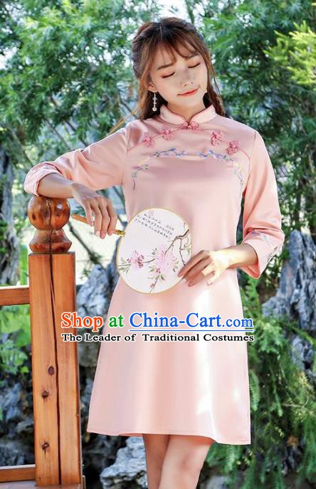 Traditional Chinese National Costume Hanfu Embroidered Pink Qipao Dress, China Tang Suit Cheongsam for Women