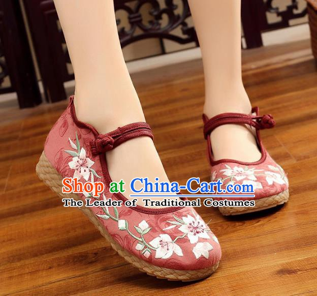 Traditional Chinese National Hanfu Embroidery Peach Blossom Red Shoes, China Princess Embroidered Shoes for Women