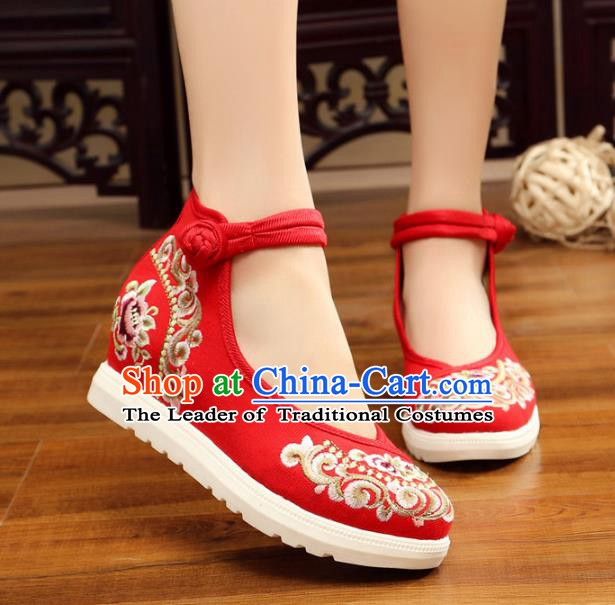 Traditional Chinese National Hanfu Red Canvas Embroidery Shoes, China Princess Embroidered Shoes for Women