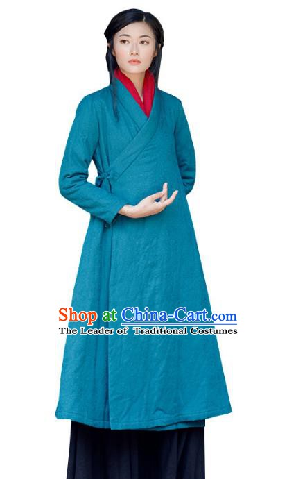 Traditional Chinese National Costume Hanfu Slant Opening Cotton-padded Coats, China Tang Suit Blue Dust Coat for Women