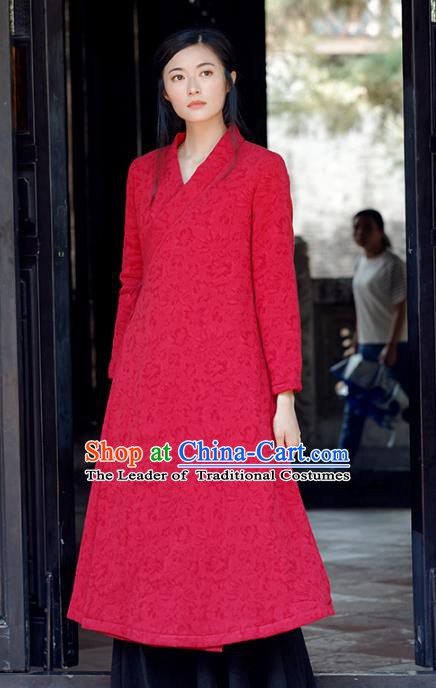 Traditional Chinese National Costume Hanfu Slant Opening Cotton-padded Coats, China Tang Suit Red Dust Coat for Women