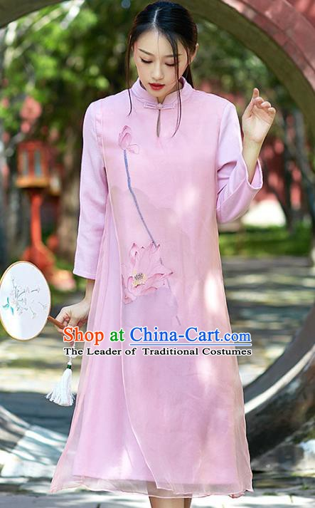 Traditional Chinese National Costume Hanfu Printing Lotus Pink Qipao, China Tang Suit Cheongsam Dress for Women