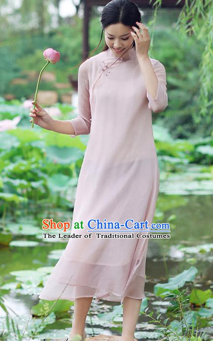 Traditional Chinese National Costume Hanfu Pink Stand Collar Qipao Dress, China Tang Suit Cheongsam for Women