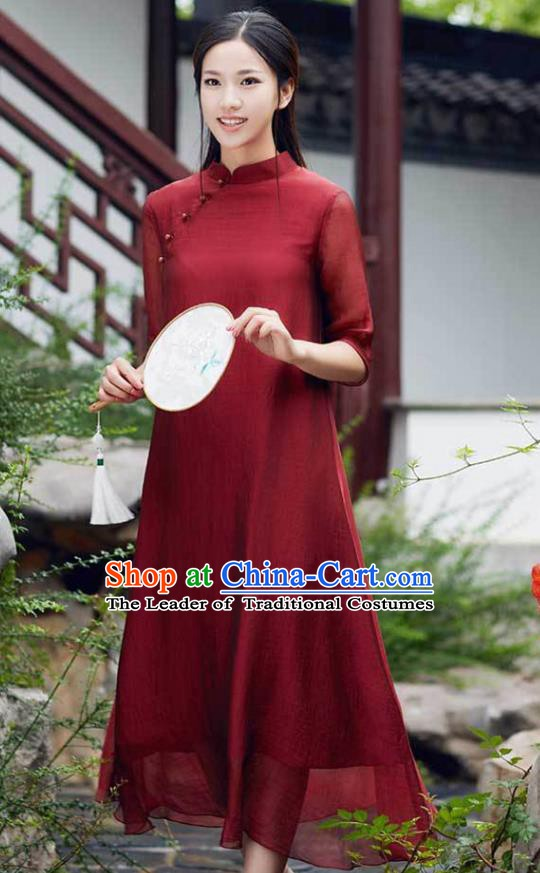 Traditional Chinese National Costume Hanfu Slant Opening Red Qipao Dress, China Tang Suit Cheongsam for Women