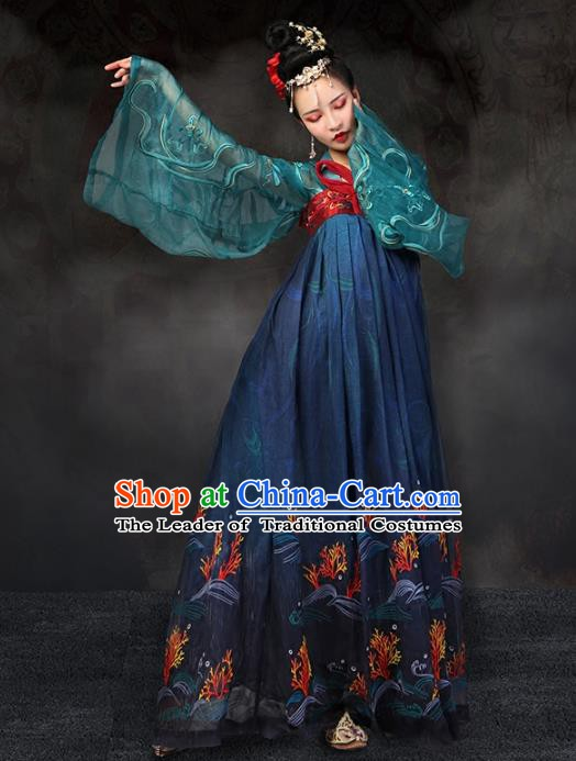 Traditional Chinese Ancient Palace Lady Costume, China Tang Dynasty Imperial Consort Embroidered Clothing for Women