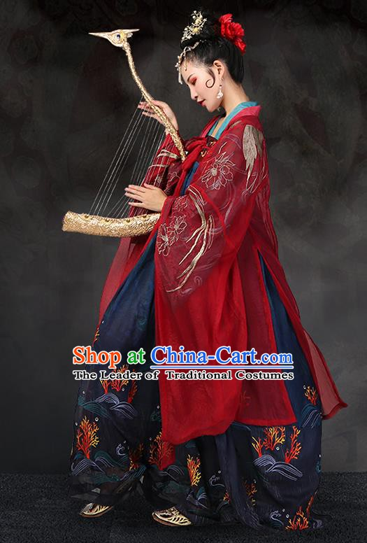 Traditional Chinese Ancient Imperial Concubine Costume Embroidered Wide Sleeve Cardigan for Women