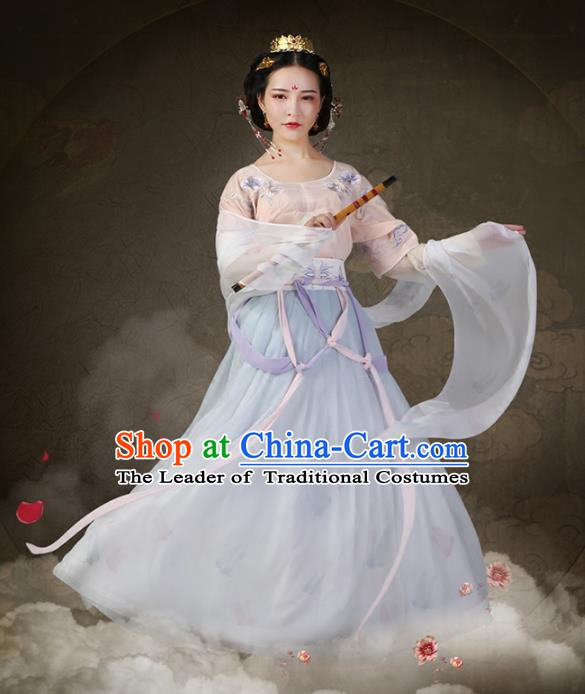 Traditional Chinese Ancient Princess Costume, China Tang Dynasty Palace Lady Embroidered Dress Clothing for Women