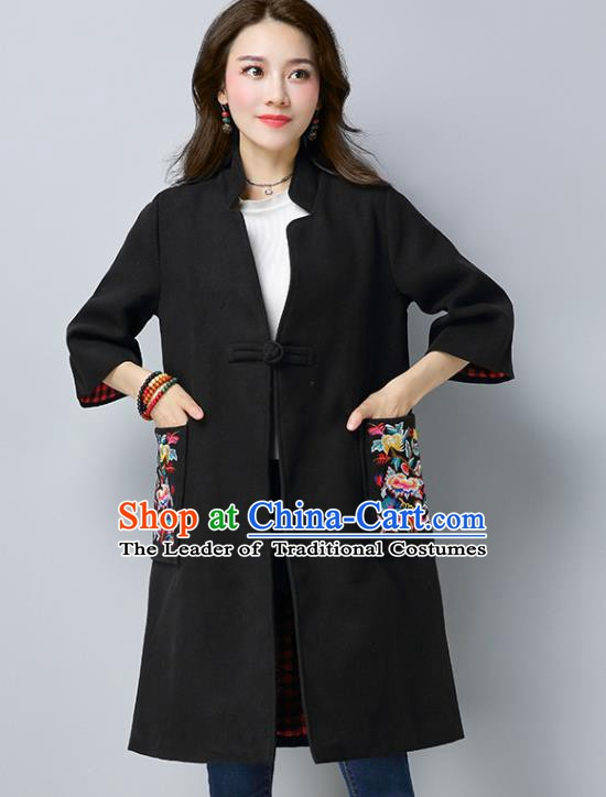 Traditional Chinese National Costume Hanfu Embroidered Black Coat, China Tang Suit Woolen Dust Coat for Women