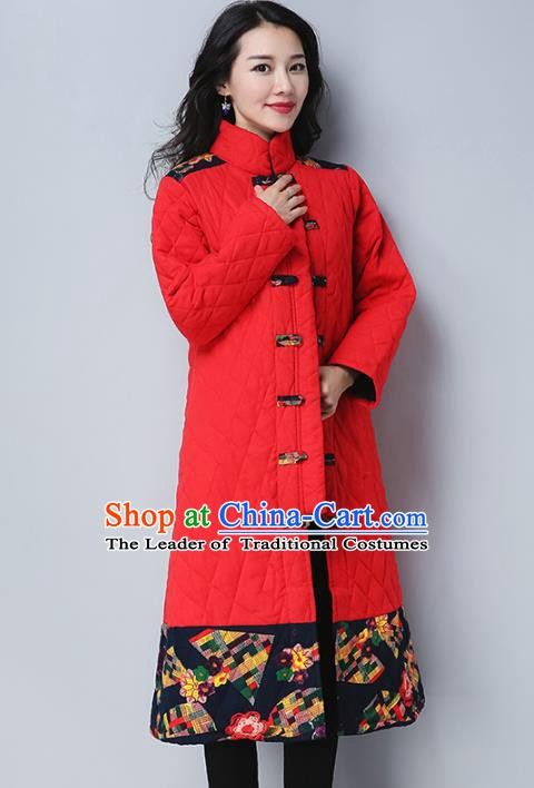 Traditional Chinese National Costume Hanfu Embroidered Cotton-padded Coat, China Tang Suit Plated Buttons Red Dust Coat for Women