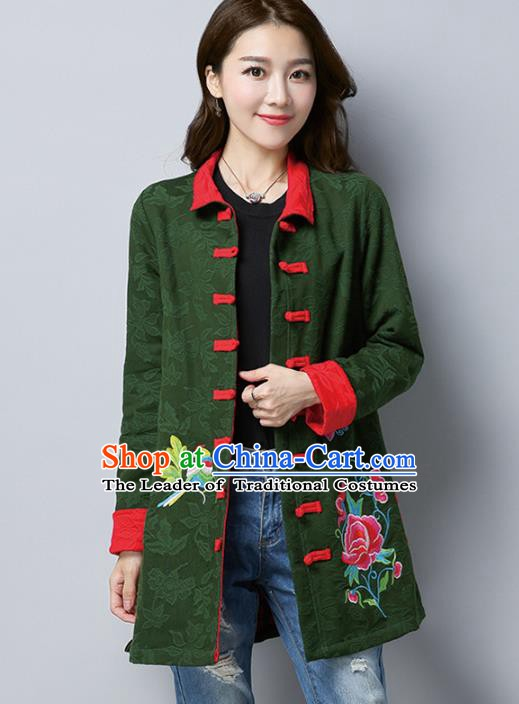 Traditional Chinese National Costume Hanfu Plated Buttons Green Embroidered Coats, China Tang Suit Coat for Women