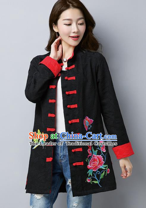 Traditional Chinese National Costume Hanfu Plated Buttons Black Embroidered Coats, China Tang Suit Coat for Women