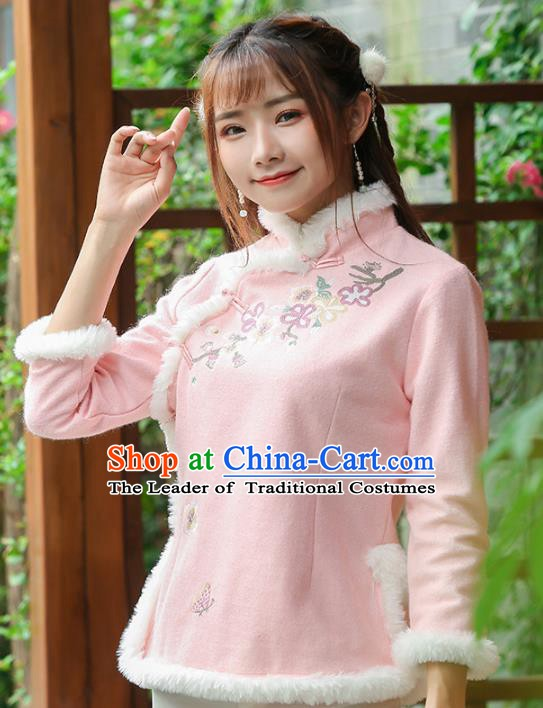 Traditional Chinese National Costume Hanfu Plated Buttons Pink Blouse, China Tang Suit Upper Outer Garment Shirt for Women