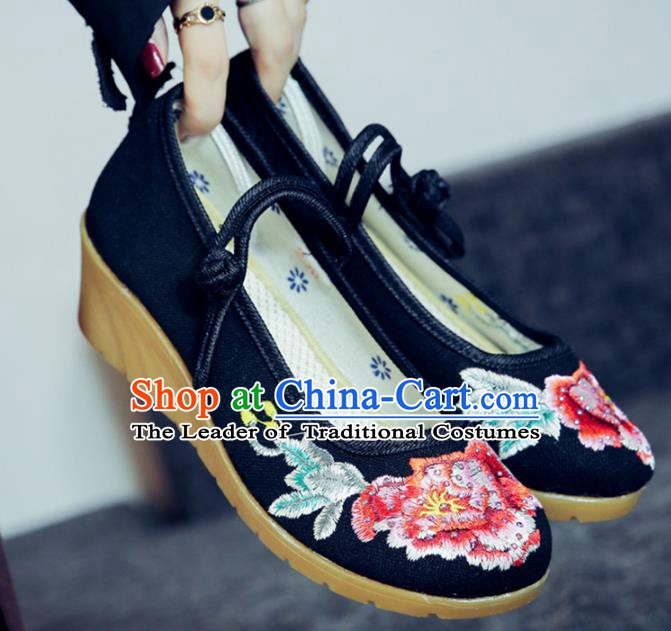 Traditional Chinese National Hanfu Embroidery Peony Black Shoes, China Embroidered Shoes for Women