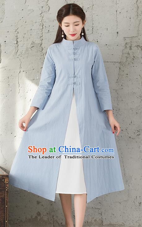 Traditional Chinese National Costume Hanfu Blue Dust Coat, China Tang Suit Outer Garment Coat for Women