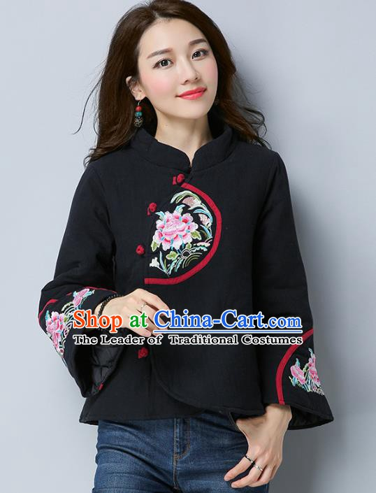 Traditional Chinese National Costume Hanfu Embroidered Peony Cotton-padded Jacket, China Tang Suit Black Coat for Women