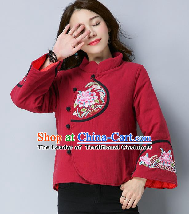 Traditional Chinese National Costume Hanfu Embroidered Peony Cotton-padded Jacket, China Tang Suit Red Coat for Women