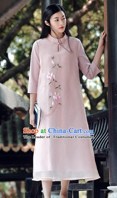 Traditional Chinese National Costume Hanfu Printing Magnolia Qipao Dress, China Tang Suit Cheongsam for Women
