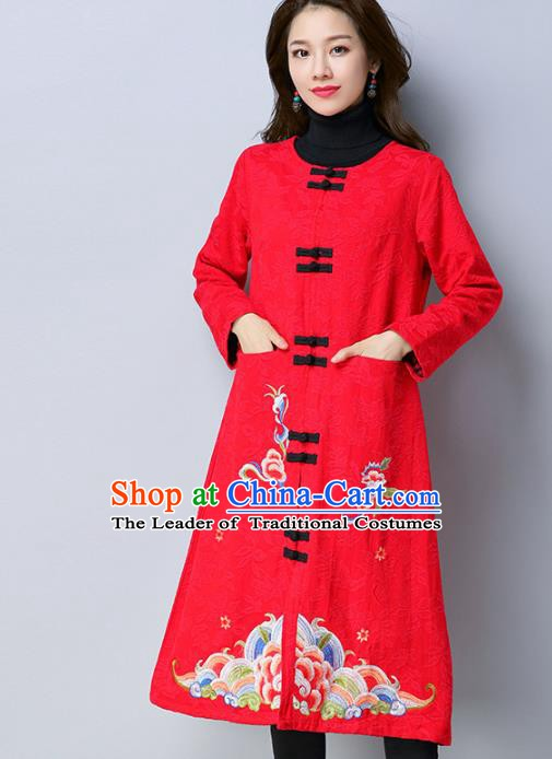 Traditional Chinese National Costume Hanfu Red Embroidered Dust Coat, China Tang Suit Long Coat for Women