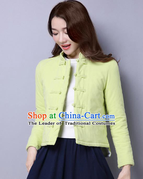 Traditional Chinese National Costume Hanfu Green Cotton-padded Jacket, China Tang Suit Coat for Women