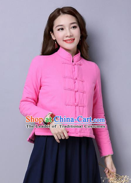 Traditional Chinese National Costume Hanfu Rosy Cotton-padded Jacket, China Tang Suit Coat for Women
