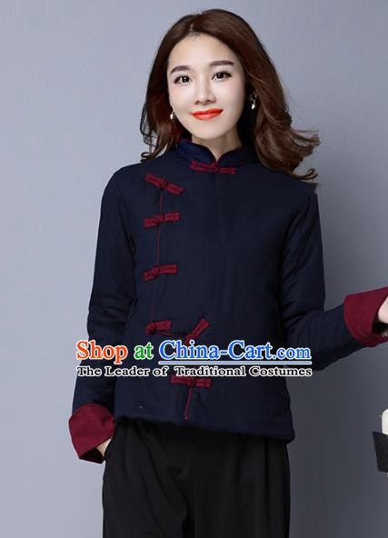 Traditional Chinese National Costume Hanfu Navy Cotton-padded Jacket, China Tang Suit Coat for Women