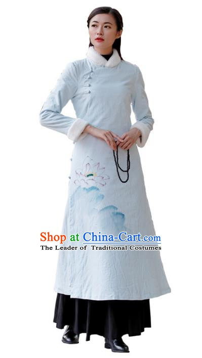 Traditional Chinese National Costume Hanfu Printing Lotus Blue Qipao, China Tang Suit Cheongsam Dress for Women
