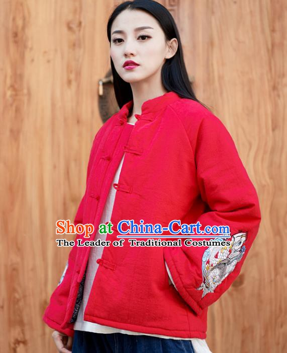 Traditional Chinese National Costume Hanfu Embroidered Red Cotton-padded Jacket, China Tang Suit Red Coat for Women