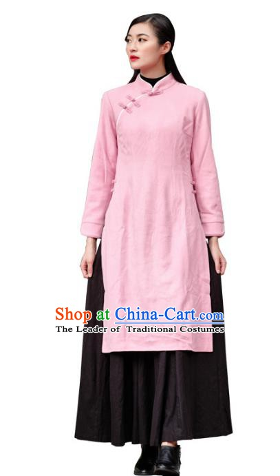 Traditional Chinese National Costume Hanfu Pink Qipao, China Tang Suit Cheongsam Dress for Women