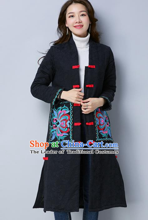 Traditional Chinese National Costume Hanfu Embroidered Black Dust Coat, China Tang Suit Coat for Women