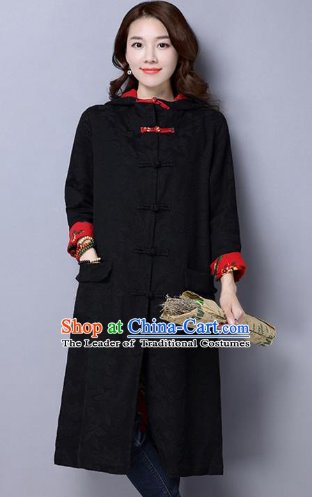 Traditional Chinese National Costume Hanfu Black Dust Coat, China Tang Suit Outer Garment Coat for Women