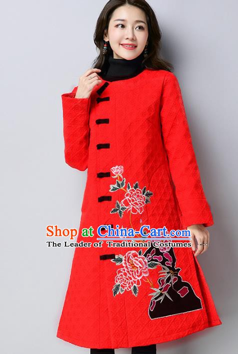 Traditional Chinese National Costume Hanfu Red Embroidered Dust Coat, China Tang Suit Outer Garment Coat for Women
