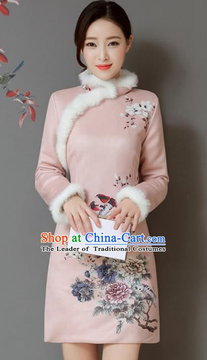 Traditional Chinese National Costume Hanfu Printing Flowers Pink Qipao Dress, China Tang Suit Cheongsam for Women