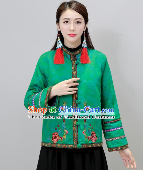 Traditional Chinese National Costume Hanfu Embroidered Green Jacket, China Tang Suit Coat for Women
