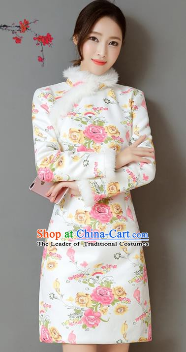Traditional Chinese National Costume Hanfu Printing Rose Qipao Dress, China Tang Suit Cheongsam for Women