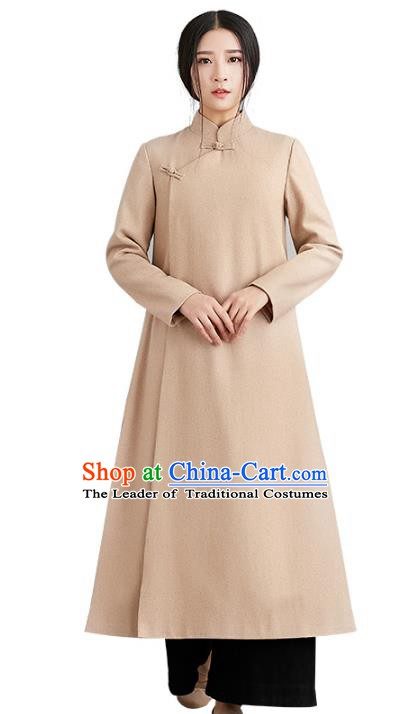 Traditional Chinese National Costume Hanfu Slant Opening Woolen Coats, China Tang Suit Dust Coat for Women