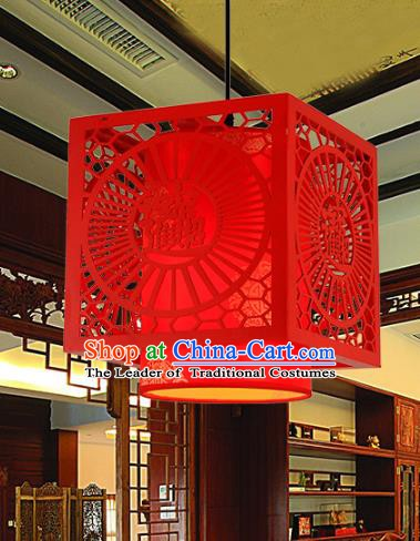 Traditional Chinese Handmade Red Wood Lantern Classical Palace Lantern China Ceiling Palace Lamp