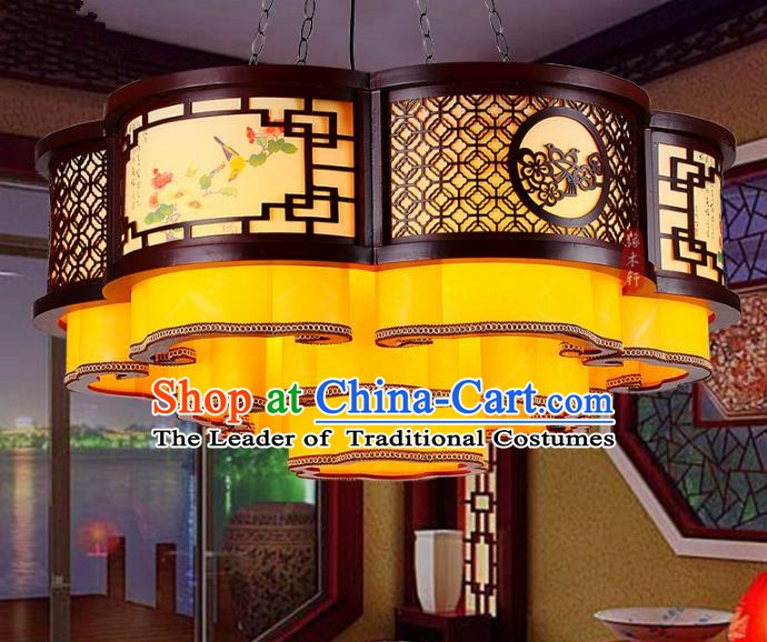 Traditional Chinese Handmade Wood Carving Cloud Lantern Classical Palace Lantern China Ceiling Palace Lamp