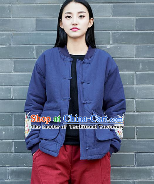 Traditional Chinese National Costume Hanfu Embroidered Blue Cotton-padded Jacket, China Tang Suit Coat for Women