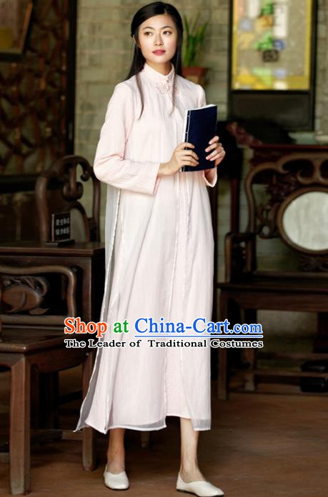 Traditional Chinese National Costume Hanfu Pink Linen Qipao, China Tang Suit Cheongsam Dress for Women
