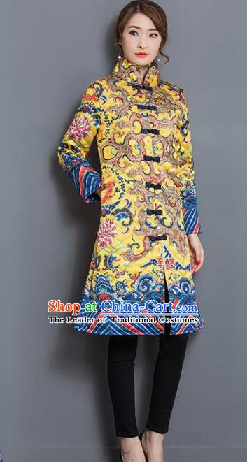 Traditional Chinese National Costume Hanfu Yellow Cotton-padded Coat, China Tang Suit Dust Coat for Women