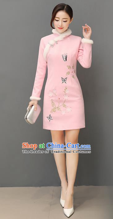 Traditional Chinese National Costume Hanfu Painting Butterfly Pink Qipao, China Tang Suit Cheongsam Dress for Women
