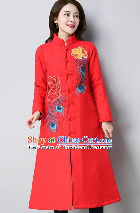 Traditional Chinese National Costume Hanfu Red Embroidered Cotton-padded Coat, China Tang Suit Dust Coat for Women